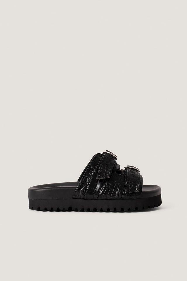 Grobe Sandalen Mit Doppelter Schnalle Black Croco