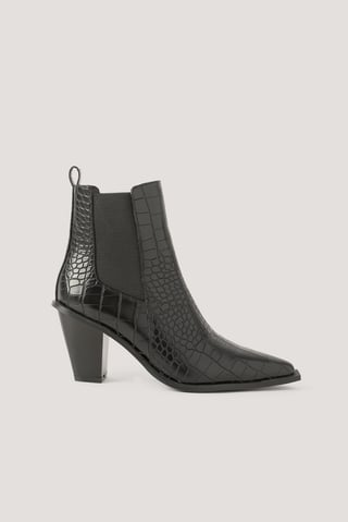 Black Croc Pointy Block Heel Boots