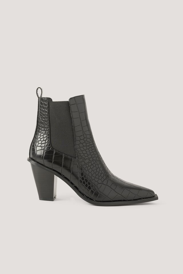 Black Croc Pointy Block Heel Boots