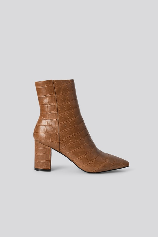 Croc Pointy Toe Half Boots Brown