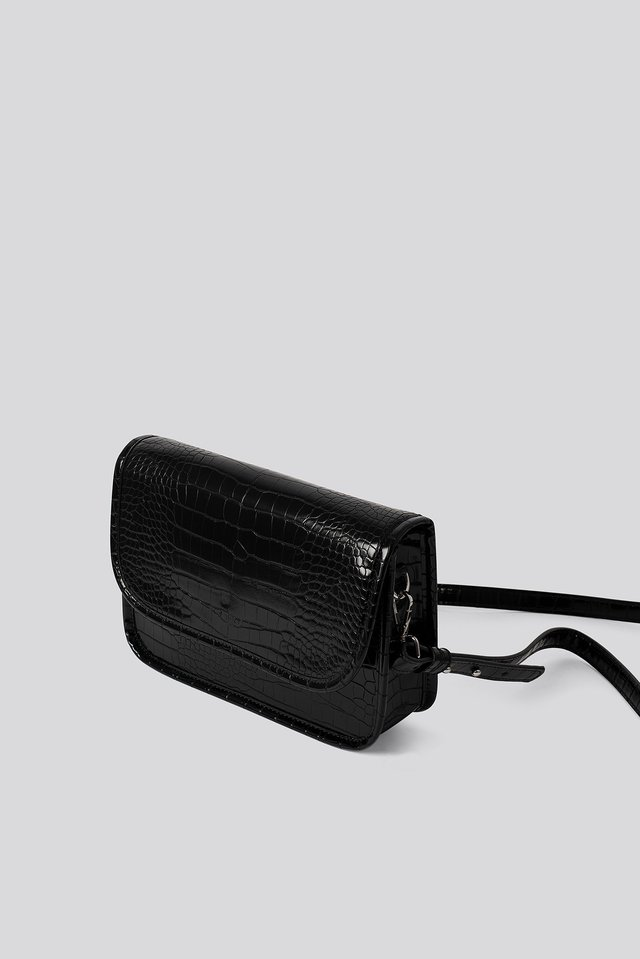 Croc Shoulder Bag Black