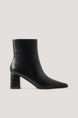 Black Croc Slim Squared Toe Boots