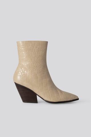 Beige Croc Western Heel Pointy Boots