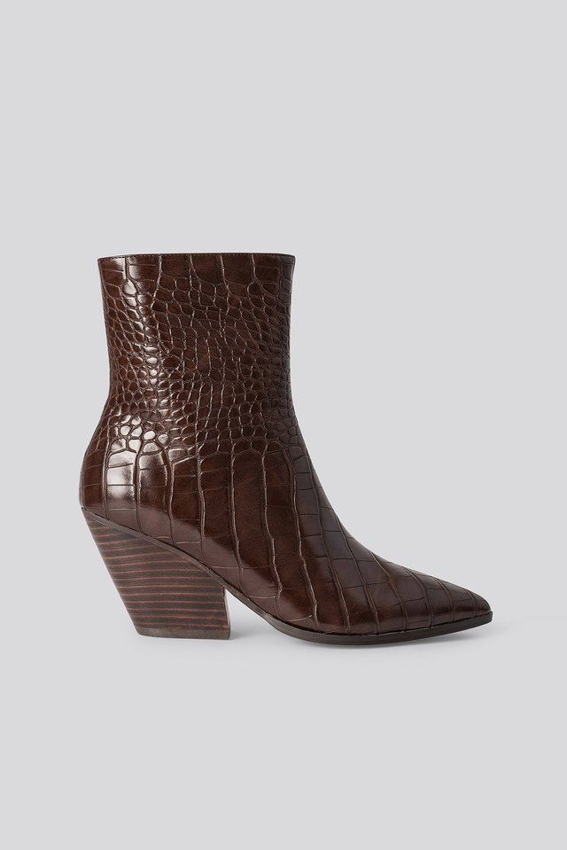 Dark Brown Croc Western Heel Pointy Boots