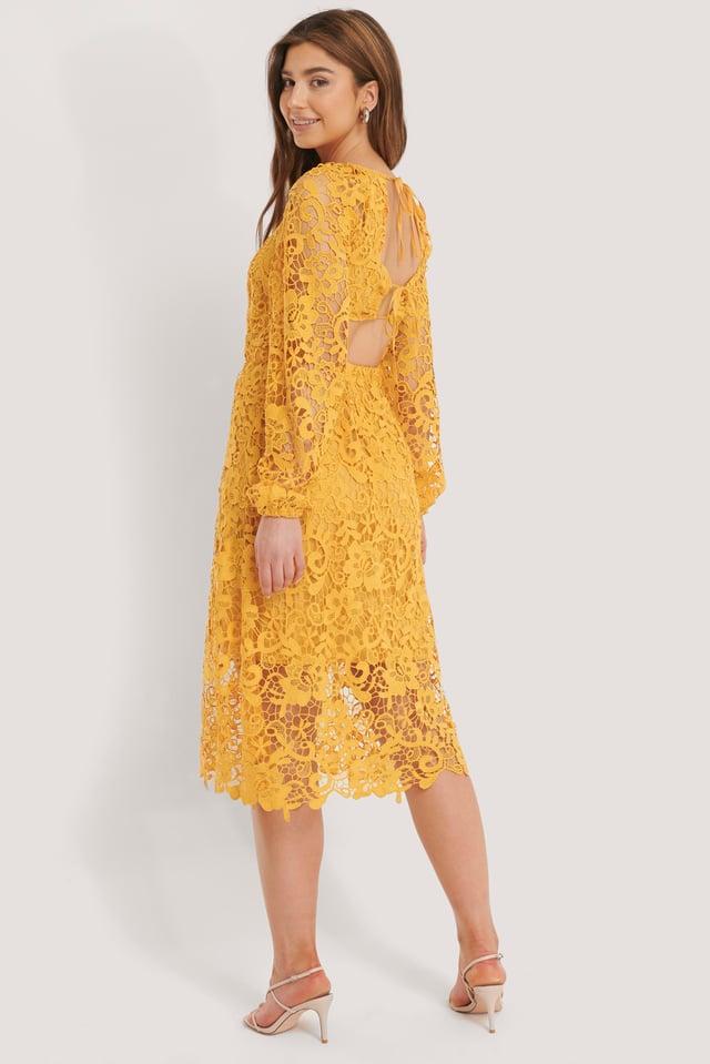 Crochet Open Back Ls Dress Citrus