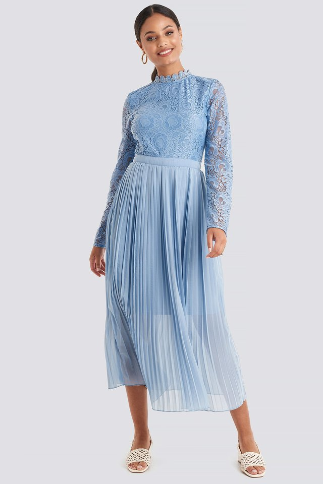Crochet Detail Pleated Dress Dusty Blue
