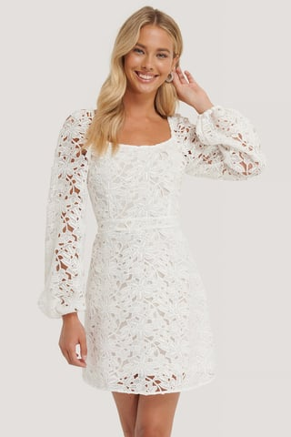 White Crochet Long Sleeve Mini Dress