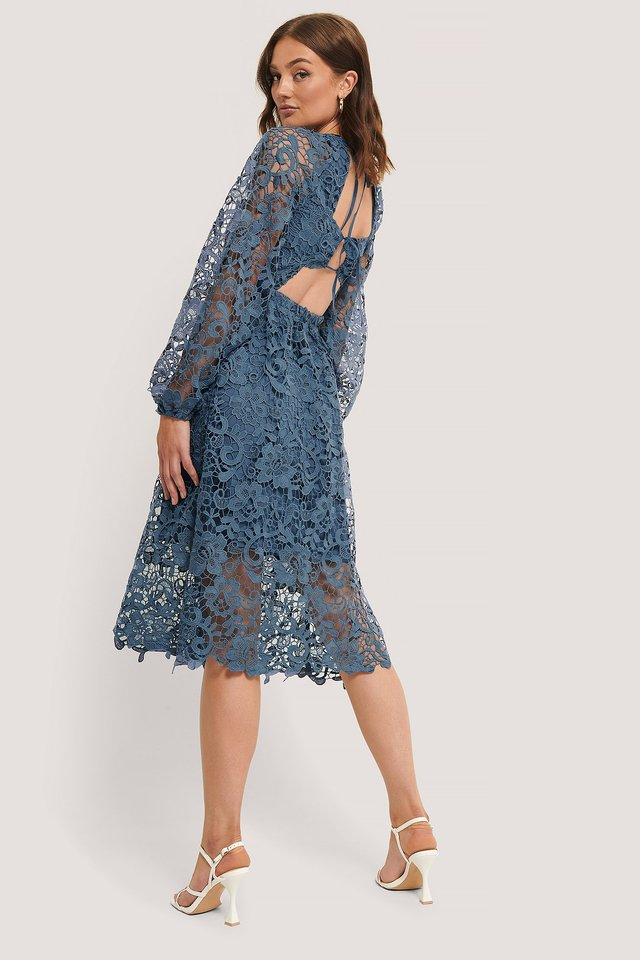 Crochet Open Back Ls Dress Stone Blue