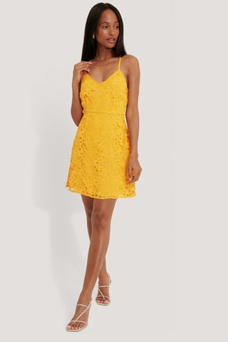 Citrus Crochet Strap Mini Dress