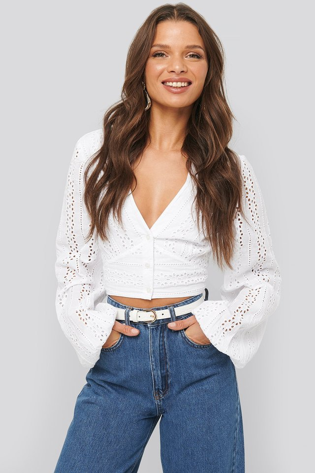 Cropped Anglaise Balloon Sleeve Top White