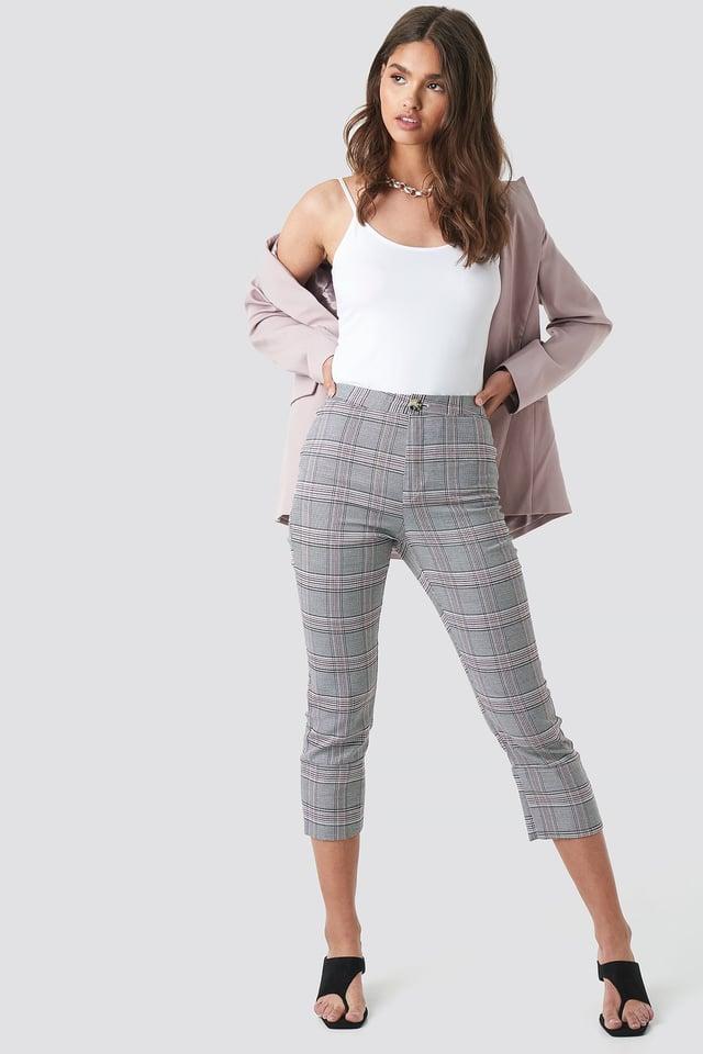 Cropped Back Slit Detail Pants Grey Check