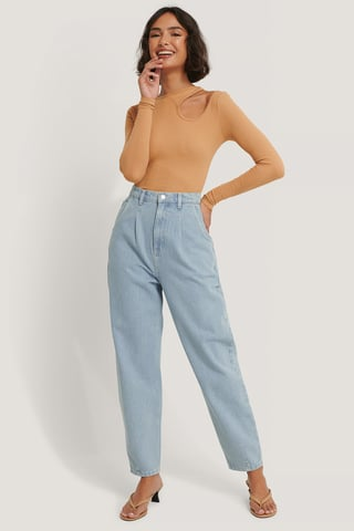 Light Blue Gerecycleerd Cropped Jeans Met Ballonpijpen