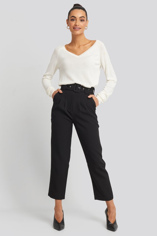 Black Cropped Belted Pants