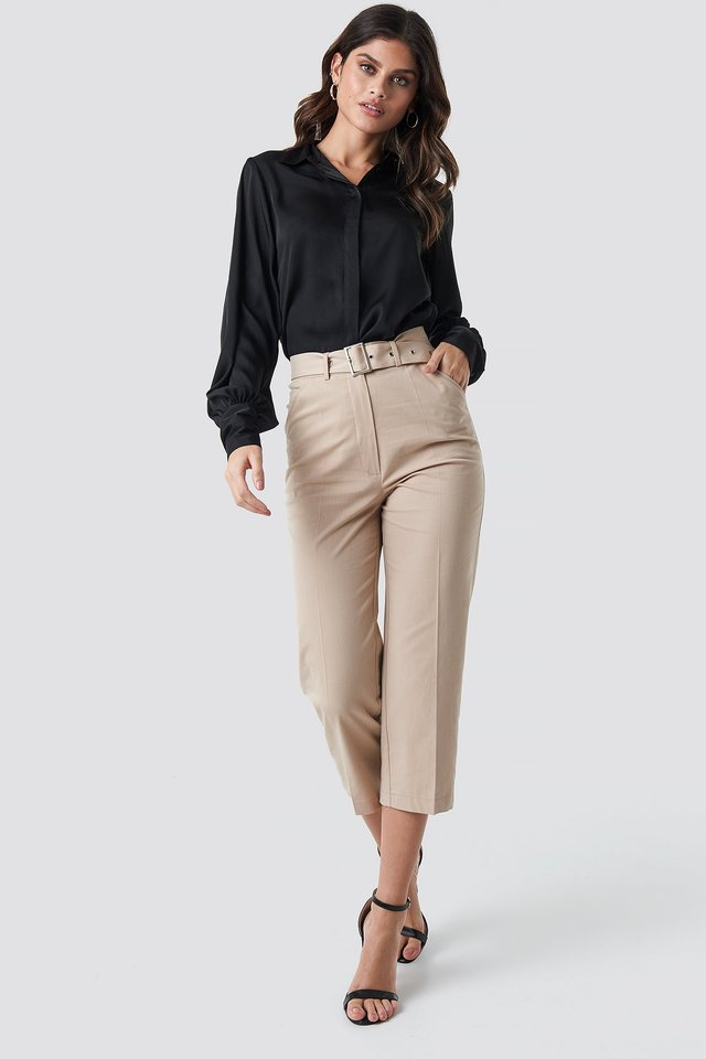 Cropped Belted Pants Beige