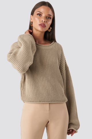 Beige Cropped Boat Neck Knitted Sweater