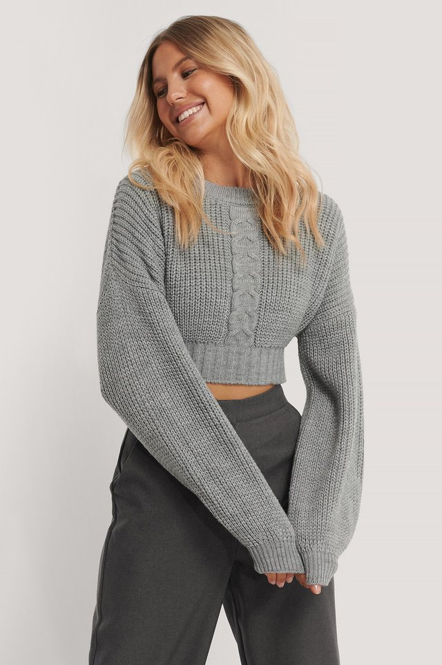 Grey Cropped Cable Knit Sweater