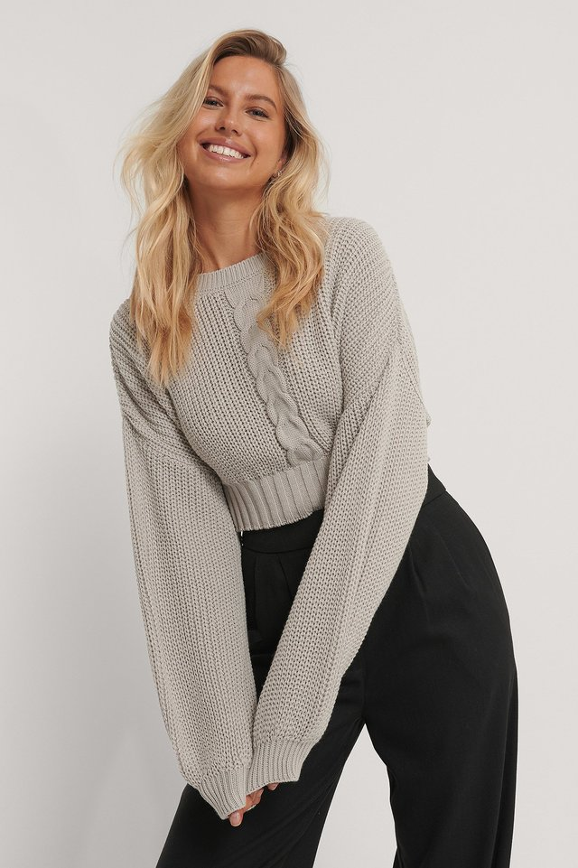 Cropped Cable Knit Sweater Light Beige