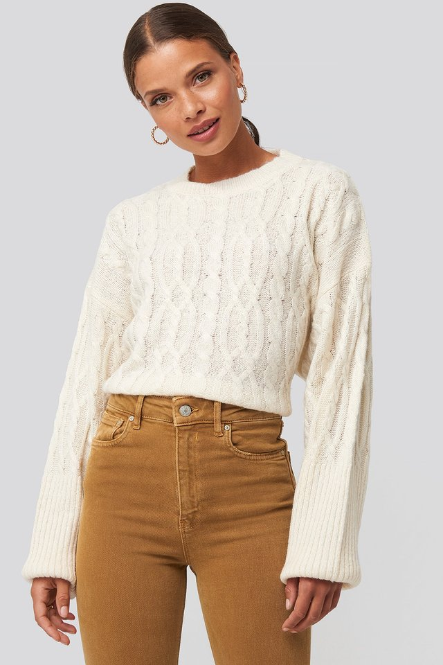 Cropped Cable Knitted Sweater Offwhite