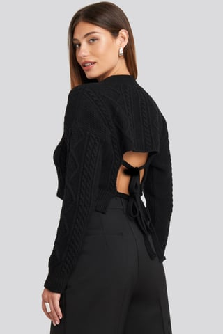 Deep Black Cropped Cable Open Back Sweater