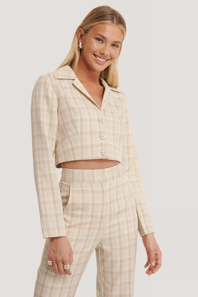 Cropped Checked Jacket Checked