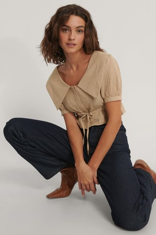 Beige Cropped Collar Top