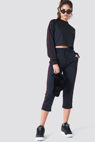 Red Cropped Track Pants