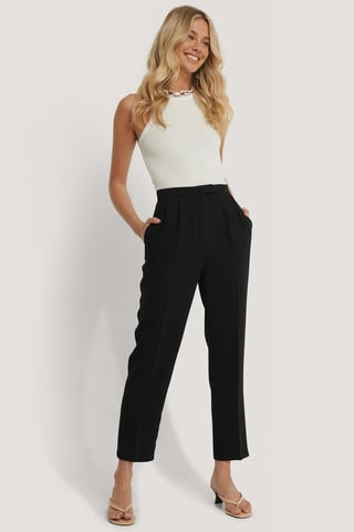 Black Cropped Darted Suit Pants