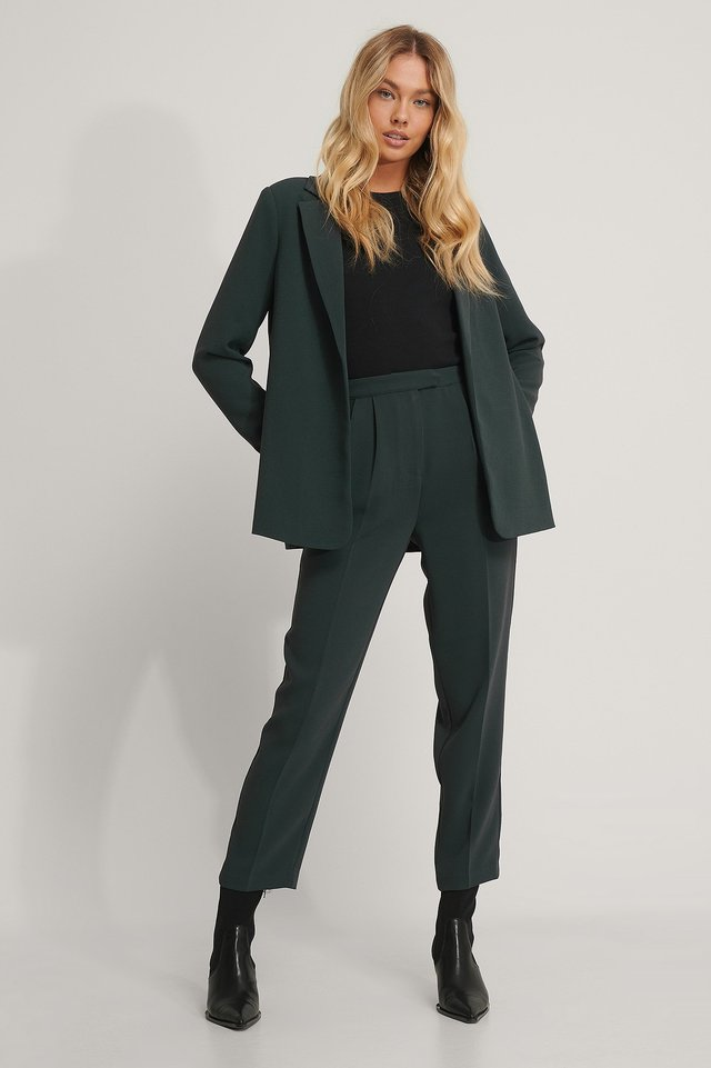 Dark Grey Cropped Darted Suit Pants