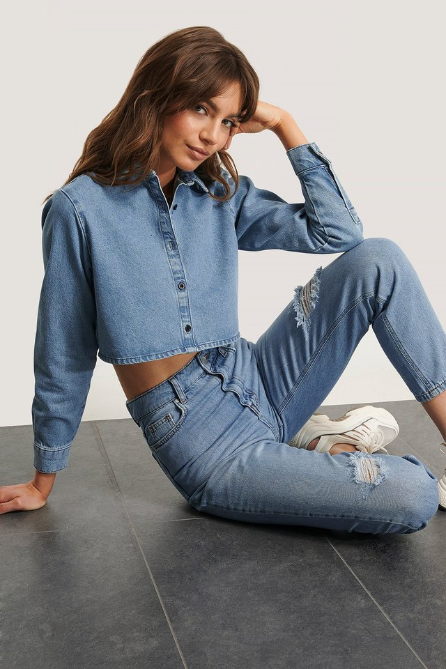 Camisa Vaquera Corta Blue