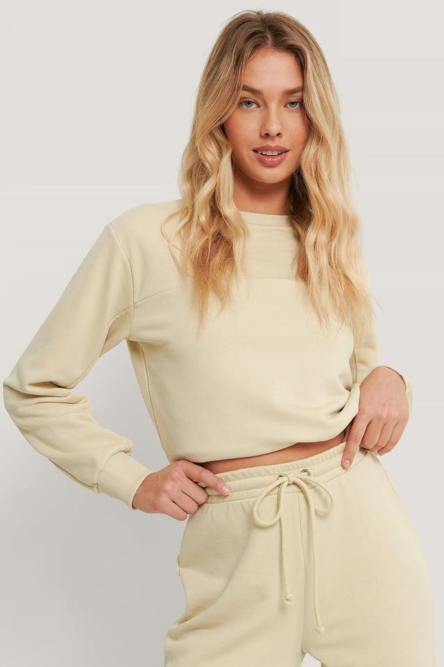 Organisch Sweatshirt Mit Kordelzug Beige