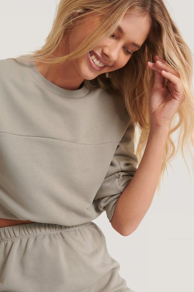 Grey Cropped Drawstring Sweatshirt