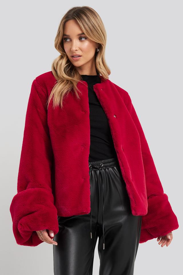 Cropped Faux Fur Jacket Dark Red