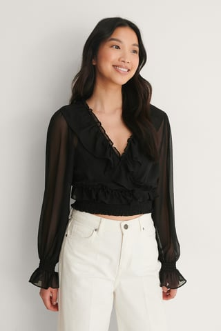Black Recycled Cropped Flounce LS Blouse