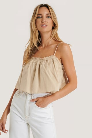 Beige Cropped Frill Detail Top
