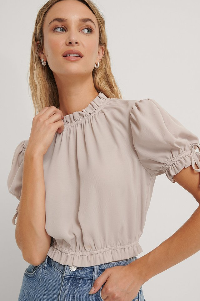 Cropped Frill Neck Top Beige