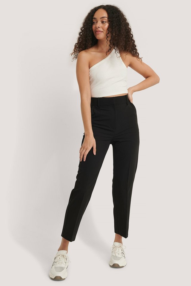 Black Cropped High Rise Suit Pants