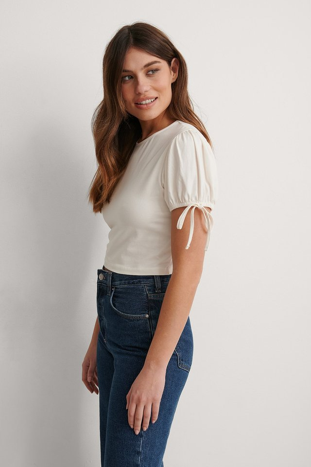 White Organic Cropped Jersey Top