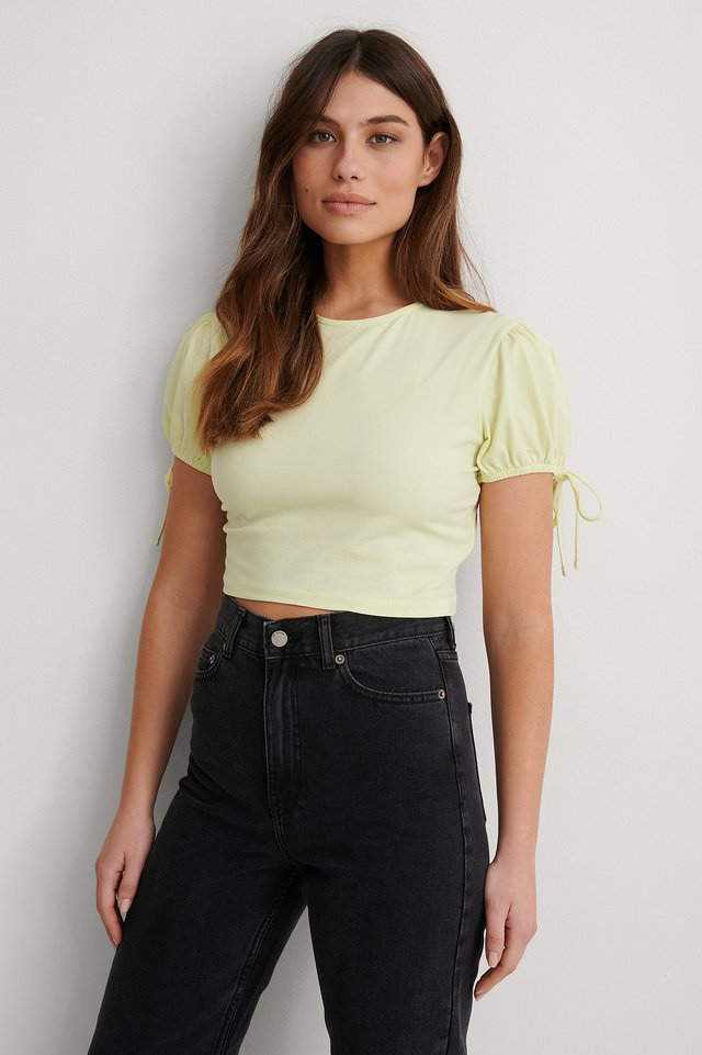 Yellow Organic Cropped Jersey Top