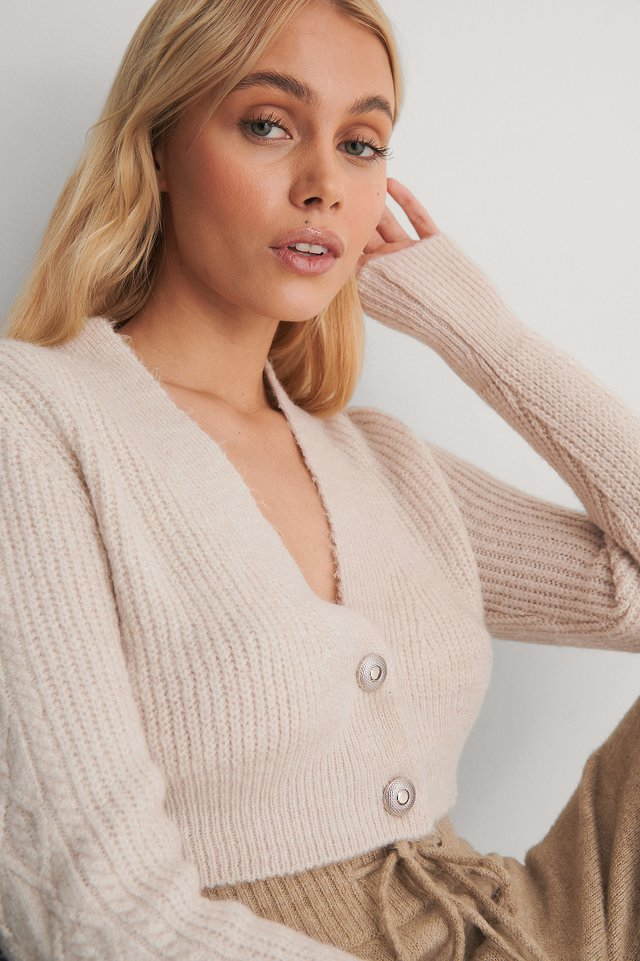 Stone Cropped Knit Cardigan