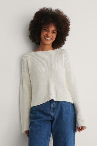 White Dziergany Krótki Sweter Z Bufiastymi Rękawami