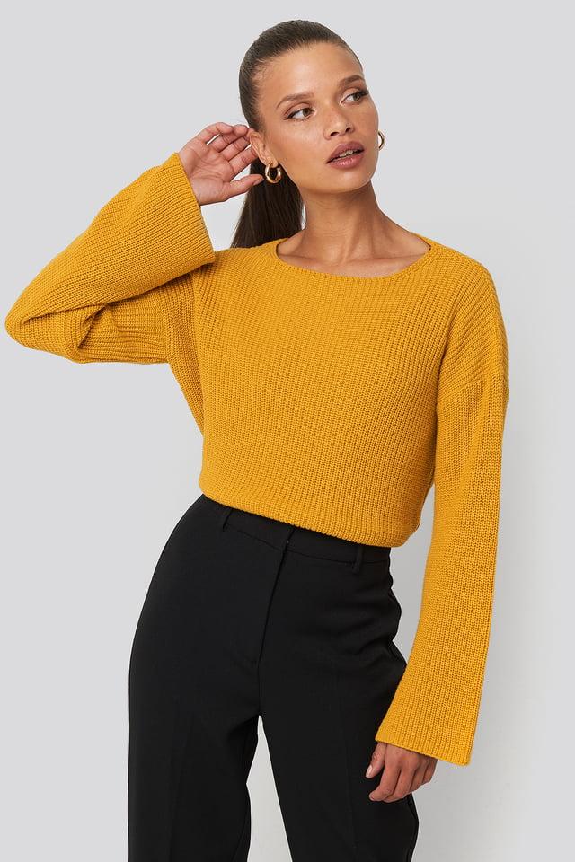 Mustard Dziergany Krótki Sweter Z Bufiastymi Rękawami