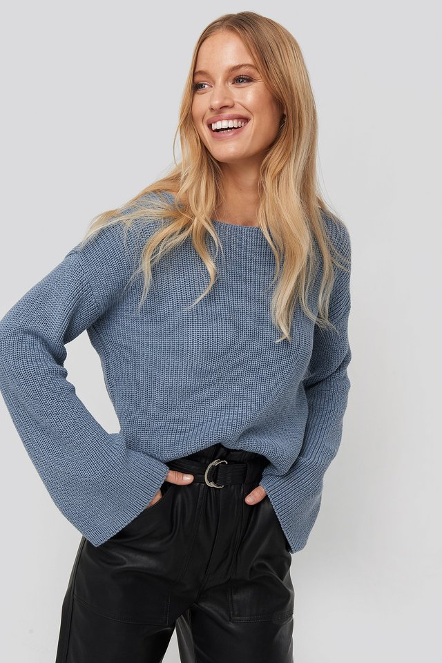 Cropped Long Sleeve Knitted Sweater NA-KD