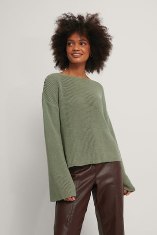 Light Khaki Cropped Long Sleeve Knitted Sweater