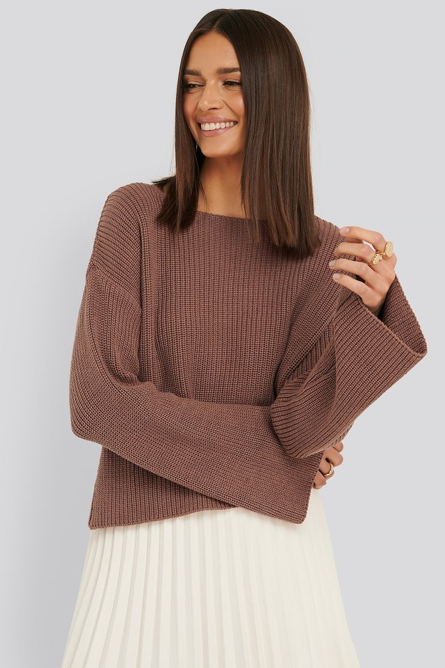 Dusty Dark Pink Cropped Long Sleeve Knitted Sweater