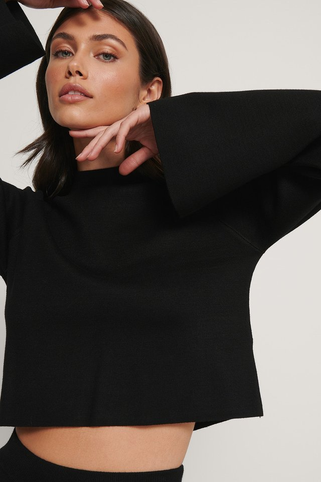 Black Cropped Lounge Sweater