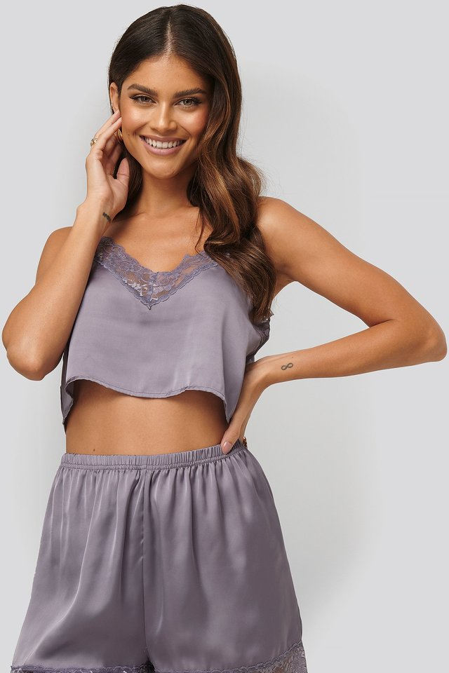 Cropped Night Singlet Dusty Purple