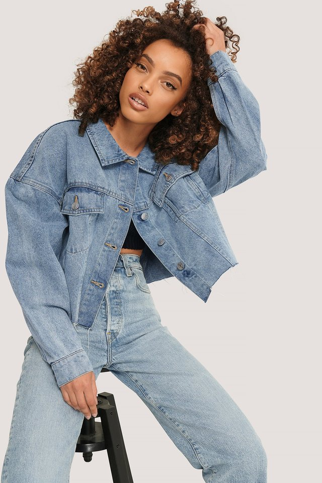 Cropped Oversized Denim Jacket Light Blue