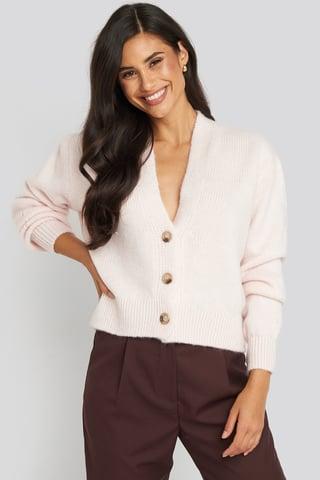 Light Pink Cropped Oversized Cardigan
