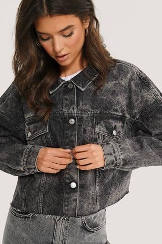 Black Cropped Oversized Denim Jacket