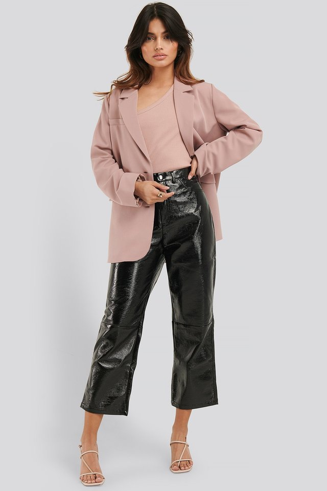 Black Cropped Patent Pants